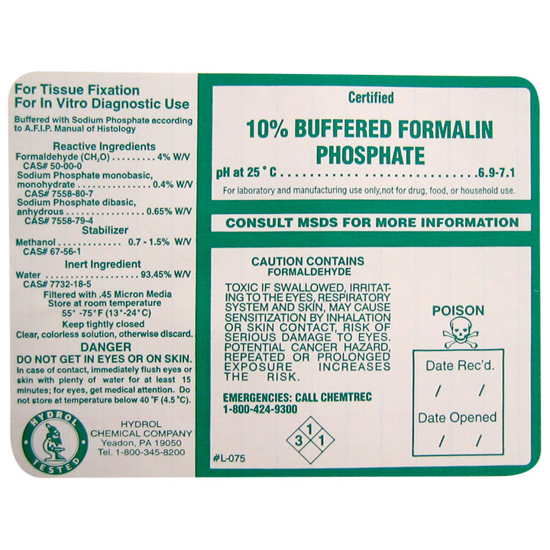 Picture of Formalin 10%, 20%, 37% Buffered